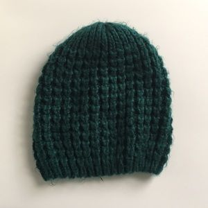 Green chunky Knit winter hat beanie